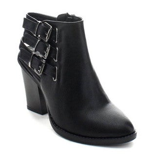 Wild Diva Dominic-12a Women's Cut Out Buckle Strap Side Zip Chunky Ankle Booties