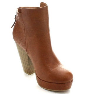 Wild Diva Sasa-03 Women's Stacked Chunky High Heel Back Zipper Ankle Boots