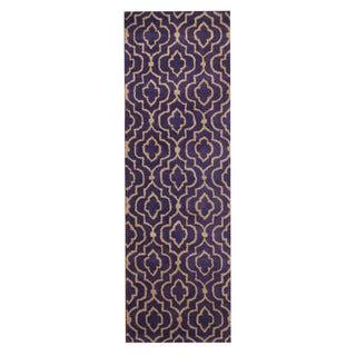 Herat Oriental Indo Hand-Tufted Tibetan Purple/ Ivory Wool Rug (2'6 x 8')