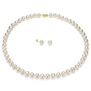 DaVonna 14k Gold White FW Pearl Necklace-Earring Set with Gift Box