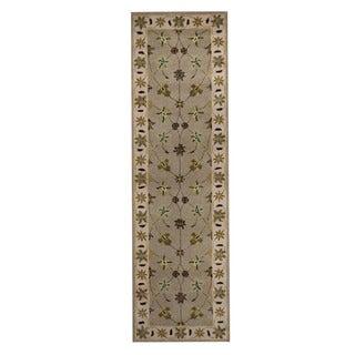 Herat Oriental Indo Hand-Tufted Tabriz Beige/ Ivory Wool Rug (2'4 x 8')