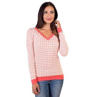 DownEast Basics Women's Jacquard Pattern Wallpaper Sweater