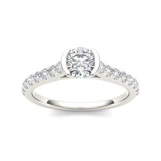 De Couer 14k White Gold 3/4ct TDW Diamond Half-Bezel Engagement Ring (H-I, I2)