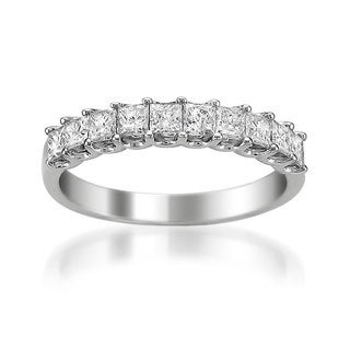 Platinum 1ct TDW Princess-cut White Diamond Wedding Band (H-I, VS1-VS2)