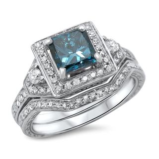 Noori 14k White Gold 1 1/10ct TDW Blue Princess-cut Diamond Bridal Ring Set (H-I, I1-I2)