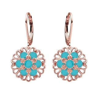 Lucia Costin Sterling Silver Turquoise Crystal Earrings
