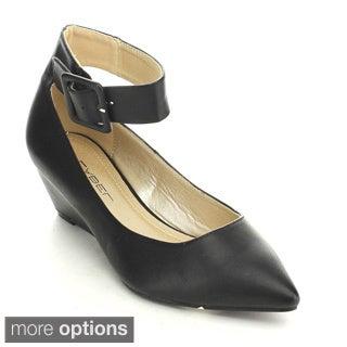 C Label Alita-4 Women's Buckle Pointed Toe Wedge Heel Ankle Strap Dress Pumps