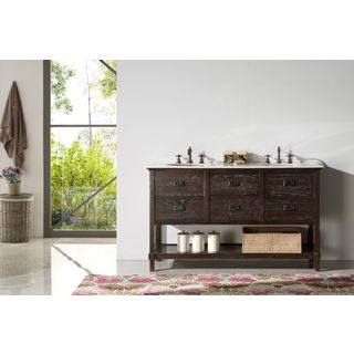 Solid Wood 60-inch Sink Vanity with Marble Top