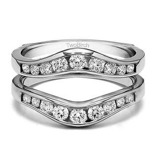 10k Gold 1/4ct TDW Diamond Graduated Contour-style Ring Guard (G-H, I1-I2)