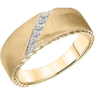 Cambridge 14k White Gold Men's 1/10ct TDW Diamond Wedding Band (I-J, I1-I2)