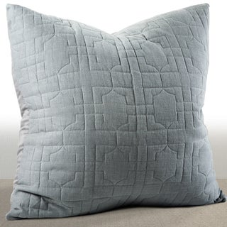 Riviera Mist Grey/ Blue Embroidered Cotton Euro Sham