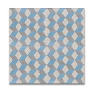 Pack of 15 Bahja Blue and Grey Handmade Cement/ Granite 8-inch x 8-inch Floor and Wall Tile (Morocco)