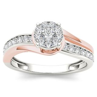 De Couer 10k Pink Two-Tone White Gold 3/8ct TDW Diamond Bypass Cluster Engagement Ring (H-I, I2)