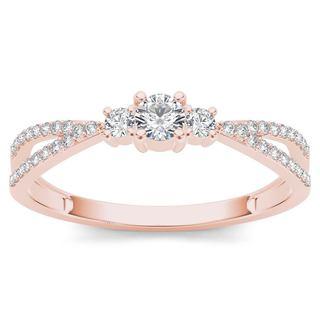De Couer 10k Rose Gold 1/4ct TDW Diamond Three-Stone Anniversary Ring (H-I, I2)
