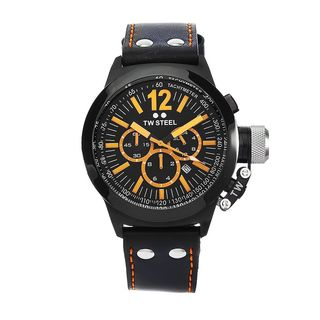 TW Steel Men's CE1029 'Canteen' Chronograph Black Leather Watch