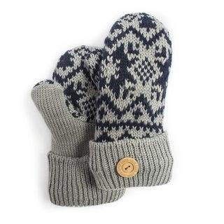 Muk Luks Women's Light Grey Snowflake Nordic Potholder Mittens