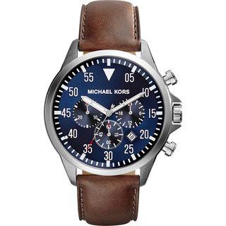 Michael Kors Women's Gage Chronograph Blue Dial Blown Leather Watch MK8362