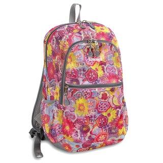 J World Poppy Pansy Printed Mesh Backpack