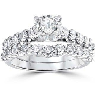 14k White Gold 2.00 ct TDW Diamond Engagement Wedding Ring Set (H-I, I1-I2)