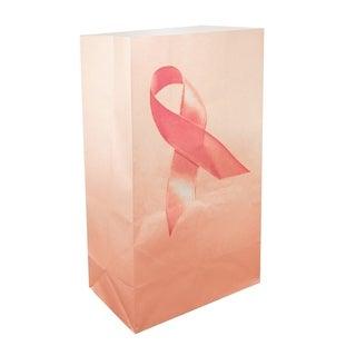 Flame Resistant Luminaria Bags Pink Ribbon (12 Count)