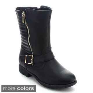 Betani Betsie-1 Girls' Side Zip Buckle Strap Mid Calf Boots
