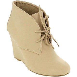 MARK and MADDUX METHUS-02 Women's Basic Lace Up Wedge Ankle Booties
