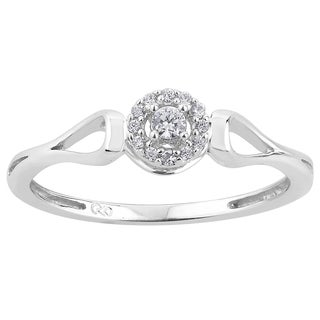 10k White Gold 1/10ct TDW Diamond Round Halo Promise Ring (H-I, I1-I2)