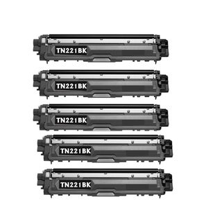 Brother TN221 Black Cartridge Brother HL-3170CDW HL-3140CW MFC-9130CW (Pack of 5)