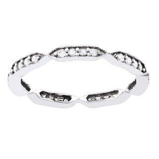 Beverly Hills Charm 10k White Gold 1/4ct TDW Diamond Eternity Stackable Milgrain Band ring (H-I, I2-I3)