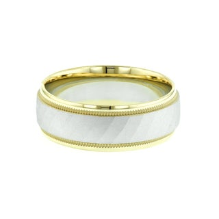 14k White Gold and Yellow Gold Milgrain Contemporary Wedding Band