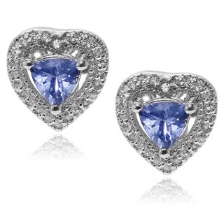 Journee Collection Rhodium-plated Sterling Silver Topaz Tanzanite Heart Stud