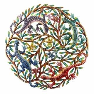 24-inch Painted Four Colorful Geckos Metal Wall Art (Haiti)