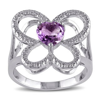 Miadora Sterling Silver Amethyst Butterfly Ring
