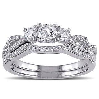 Miadora 10k White Gold 3/4ct TDW Diamond Bridal Ring Set (G-H, I2-I3)