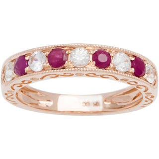 Viducci 10k Gold Ruby and White Sapphire Vintage Style Band