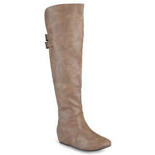 Journee Collection Women's 'Angel' Regular and Wide-calf Faux Leather Inside Pocket Buckle Detail Boots