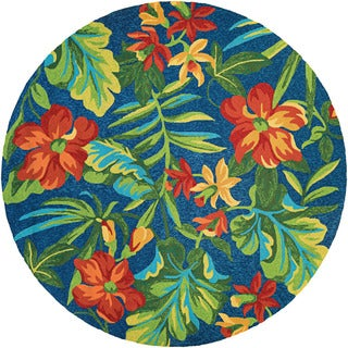 Couristan Covington Tropical Orchid/ Azure-Forest Green-Red Rug (7'10 Round)