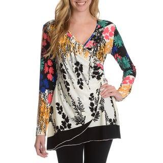 La Cera Women's Multi Floral Print Surplice Faux Wrap Top