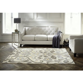 Spaces by Welspun Traditional Floral Scroll Patterned Natural Area Rug (5' x 7')