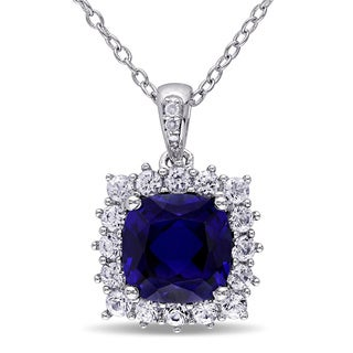 Miadora Sterling Silver Multi-gemstone and Diamond Accent Halo Necklace