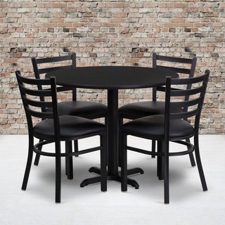 36-inch Round Black Laminate Table Set with Four (4) Black Vinyl Seat Ladder Back Metal Chairs