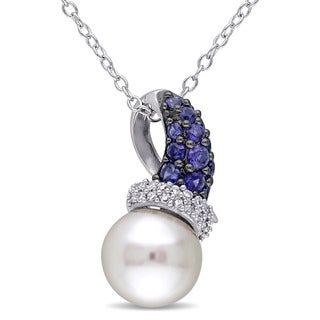 Miadora Sterling Silver Freshwater Pearl Created Blue Sapphire and 1/10ct TDW Diamond Necklace (G-H, I2-I3)