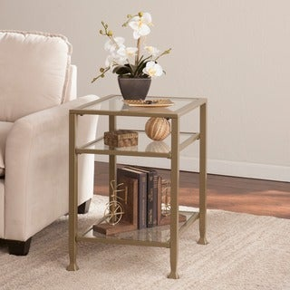 Upton Home Matte Gold Metal/ Glass Side/ End Table