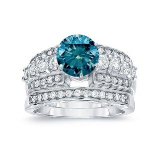 Auriya 14k White Gold 2ct TDW Round Cut Blue Diamond Bridal Ring Set (Blue, SI2-SI3)