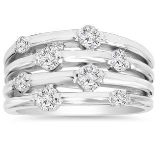 14k White Gold 1 ct TDW Journey Diamond Right Hand Ring