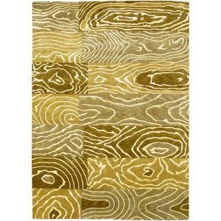 Couristan Pokhara Wood Grain/ Gold-beige Rug (9' x 12')