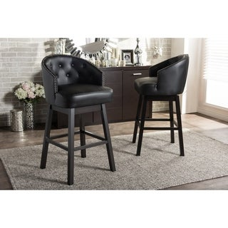 Set of 2 Avril Modern and Contemporary Black Faux Leather Tufted Swivel Barstool with Nail Heads Trim