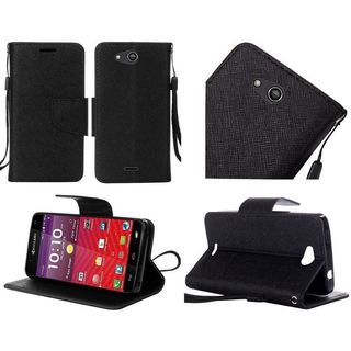 Insten Leather Fabric Phone Case Cover with Lanyard/ Stand For Kyocera Hydro Wave