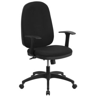 High Back Black Fabric Multi-functional Swivel Task Chair with Back Angle Adjustment and Arms