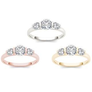 De Couer 14k Gold 1 1/4ct TDW Diamond Three-Stone Anniversary Ring (H-I, I2)